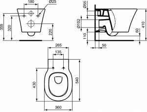 Pachet Complet Sistem WC Suspendat Ideal Standard Connect Air Aquablade - Gata de Montaj - Cadru fixare + Rezervor Ingropat, Clapeta Crom, Vas WC si Capac WC Softclose13