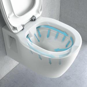 Pachet Complet Sistem WC Suspendat Ideal Standard Connect Rimless - Gata de Montaj - Cadru fixare + Rezervor Ingropat, Clapeta Crom, Vas WC si Capac WC7