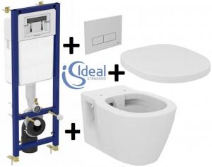 Pachet Complet Sistem WC Suspendat Ideal Standard Connect Rimless - Gata de Montaj - Cadru fixare + Rezervor Ingropat, Clapeta Crom, Vas WC si Capac WC0