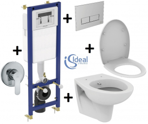Pachet Complet Sistem WC Suspendat Ideal Standard cu functie de bideu - Gata de Montaj - Cadru fixare + Rezervor Ingropat, Clapeta Crom, Vas WC, Baterie Incastrata si Capac WC0