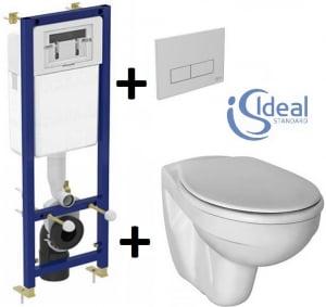 Pachet Complet Sistem WC Suspendat Ideal Standard - Gata de Montaj - Cadru fixare + Rezervor Ingropat, Clapeta Crom, Vas WC si Capac WC0
