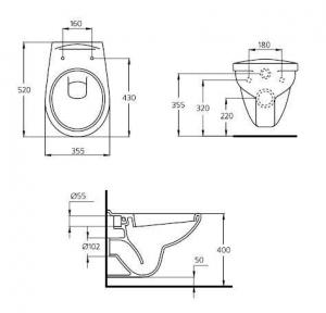 Pachet Complet Sistem WC Suspendat Ideal Standard - Gata de Montaj - Cadru fixare + Rezervor Ingropat, Clapeta Crom, Vas WC si Capac WC8
