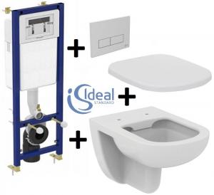 Pachet Complet Sistem WC Suspendat Ideal Standard Tempo Rimless - Gata de Montaj - Cadru fixare + Rezervor Ingropat, Clapeta Crom, Vas WC si Capac WC 0