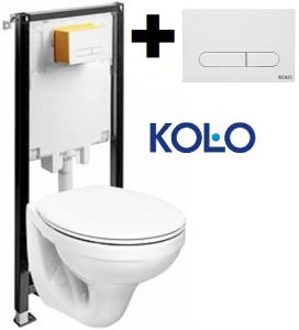Pachet Complet Sistem WC Suspendat Kolo Idol - Gata de Montaj - Cadru fixare + Rezervor Ingropat, Clapeta Alba, Vas WC si Capac WC [0]