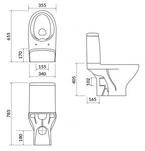 Pachet Complet Toaleta Cersanit Moduo CleanON - Vas WC, Rezervor, Armatura, Capac Softclose, Set de Fixare1