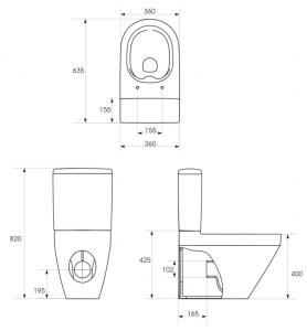 Pachet Complet Toaleta Cersanit Crea Oval - Vas WC, Rezervor, Armatura, Capac Slim & Soft, Set de Fixare [5]