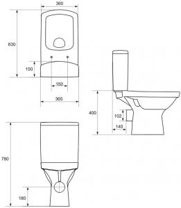 Pachet Complet Toaleta Cersanit Easy CleanON - Vas WC, Rezervor, Armatura, Capac Softclose, Set de Fixare4