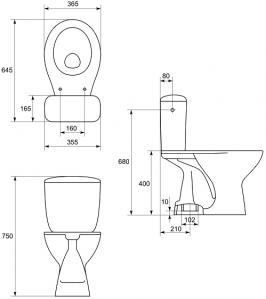 Pachet Complet Toaleta Cersanit President - Vas WC, Rezervor, Armatura, Capac, Set de Fixare - Model 22
