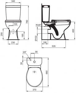 Pachet Complet Toaleta cu functie de bideu Vidima Sevafresh - Vas WC, Rezervor, Armatura, Capac, Set de Fixare1