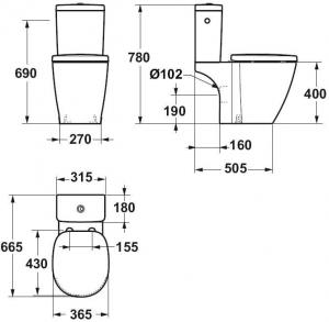 Pachet Complet Toaleta Ideal Standard Connect Cube - Vas WC, Rezervor, Armatura, Capac Softclose, Set de Fixare [4]