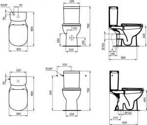Pachet Complet Toaleta Ideal Standard Tempo - Vas WC, Rezervor, Armatura, Capac, Set de Fixare - Model 13
