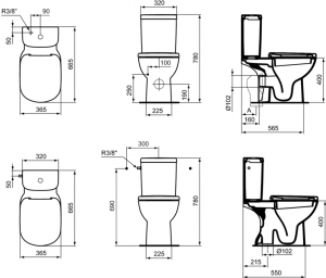 Pachet Complet Toaleta Ideal Standard Tempo - Vas WC, Rezervor, Armatura, Capac, Set de Fixare - Model 24
