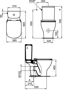 Pachet Complet Toaleta Ideal Standard Tesi Aquablade  - Vas WC, Rezervor, Armatura, Capac Slim Softclose, Set de Fixare [2]