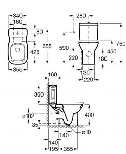 Pachet Complet Toaleta Roca Debba - Vas WC, Rezervor, Armatura, Capac Softclose, Set de Fixare [5]