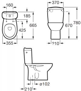 Pachet Complet Toaleta Roca Victoria - Vas WC, Rezervor, Armatura, Capac, Set de Fixare - Model 21