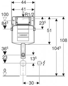 Rezervor incastrat Geberit Sigma UP320 - Pentru vase Back-to-Wall2