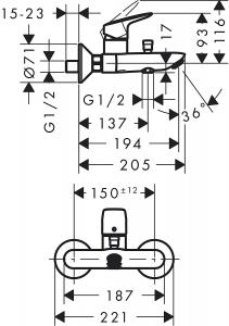Set 3 in 1 Hansgrohe Logis 70 - Varianta pentru cada6