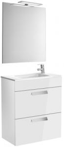 Set complet Roca Debba 600 Compact - Lavoar + Mobilier + Oglinda + Lampa LED + Sifon - Alb0