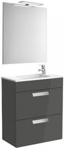 Set complet Roca Debba 600 Compact - Lavoar + Mobilier + Oglinda + Lampa LED + Sifon - Gri antracit0