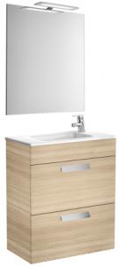 Set complet Roca Debba 600 Compact - Lavoar + Mobilier + Oglinda + Lampa LED + Sifon - Stejar deschis0