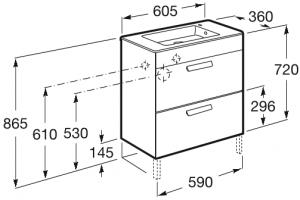 Set complet Roca Debba 600 Compact - Lavoar + Mobilier + Oglinda + Lampa LED + Sifon - Wenge deschis5