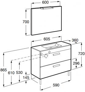 Set complet Roca Debba 600 Compact - Lavoar + Mobilier + Oglinda + Lampa LED + Sifon - Wenge deschis8