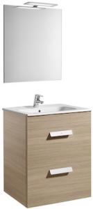 Set complet Roca Debba 600 - Lavoar + Mobilier + Oglinda + Lampa LED + Sifon - Stejar deschis0