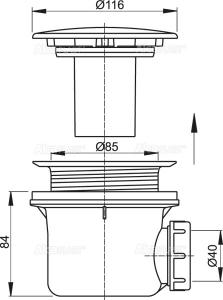 Sifon 90 mm scurgere cadita AlcaPlast1