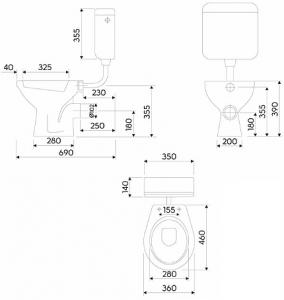 Vas WC pe pardoseala Kolo Idol - Pentru rezervor la semi-inaltime - Scurgere laterala1