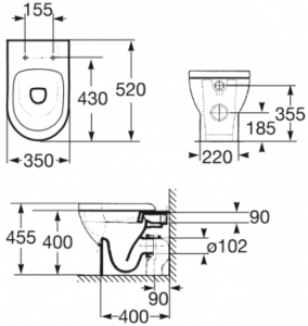 Vas WC pe pardoseala Roca Tipo Compact - Back-to-Wall - Pentru rezervor incastrat1