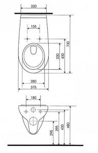 Vas WC Suspendat Cersanit Etiuda - CleanON - pentru persoane cu disabilitati5