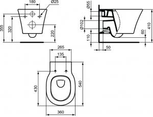 Vas WC Suspendat Ideal Standard Connect Air Aquablade- Fixare ascunsa13