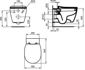 Vas WC Suspendat Ideal Standard Connect cu functie de bideu - Fixare ascunsa2