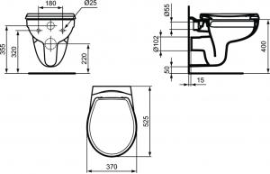Vas WC Suspendat Ideal Standard Eurovit Rimless2