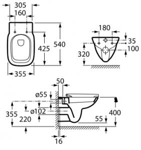 Vas WC Suspendat Roca Debba1
