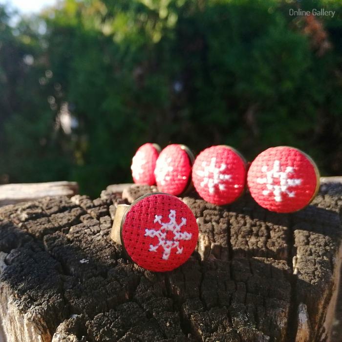 Set Bijuterii Handmade de Crăciun - Fulg de Nea 0