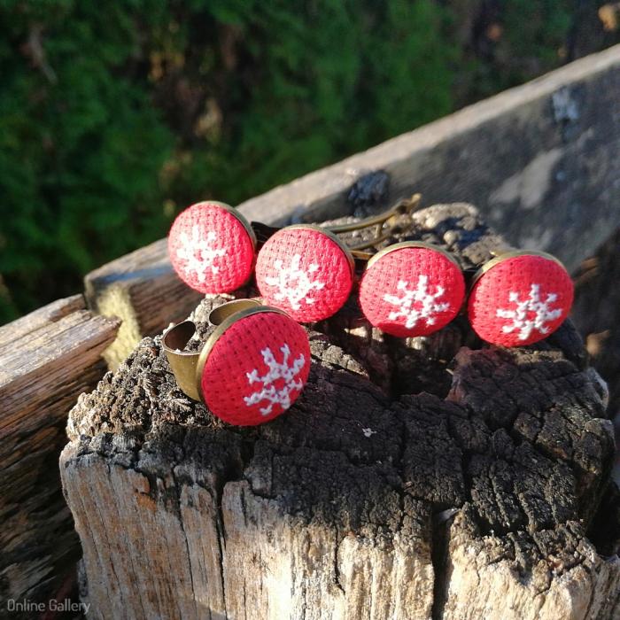 Set Bijuterii Handmade de Crăciun - Fulg de Nea 1