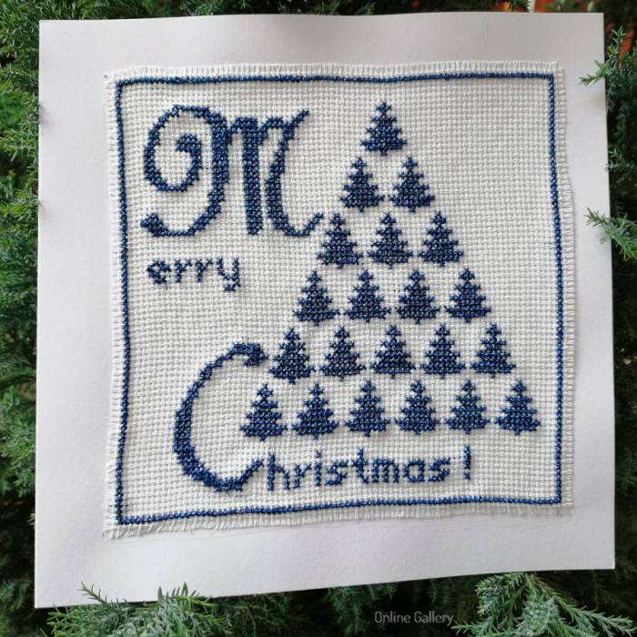Felicitare Brad de Crăciun lucrată manual 1