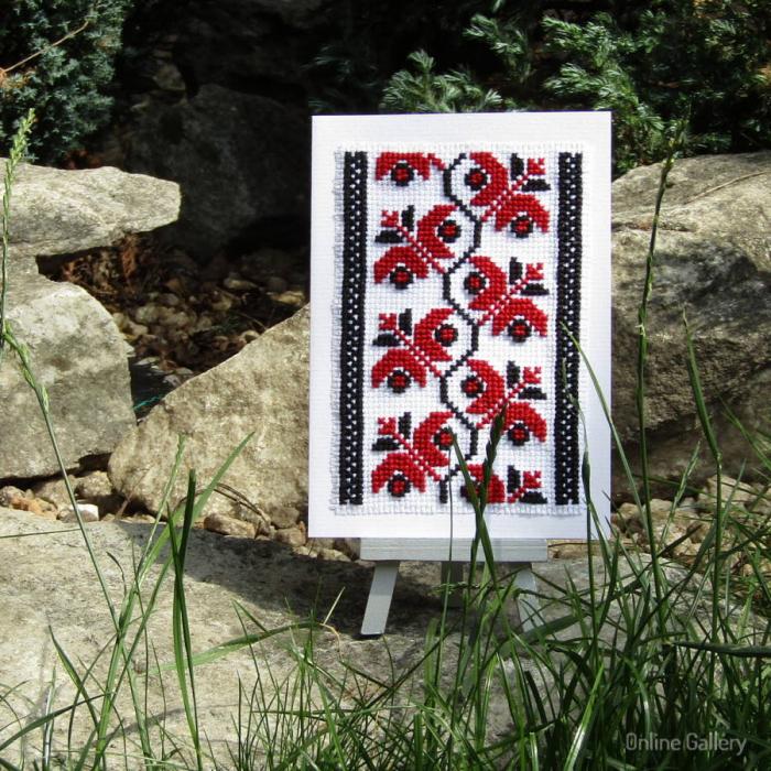 Felicitare cu flori handmade 0