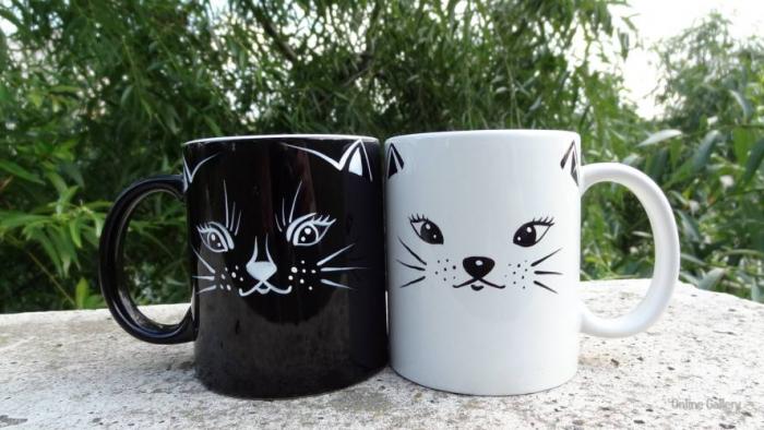 Set căni pictate, pisica albă - pisica neagră