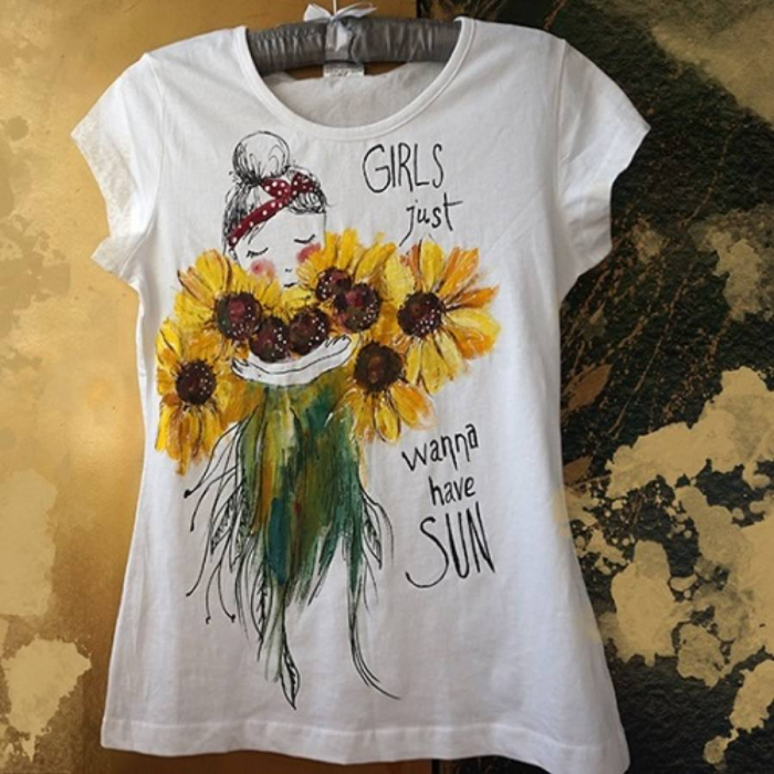 Tricou pictat - Girl Sun 0
