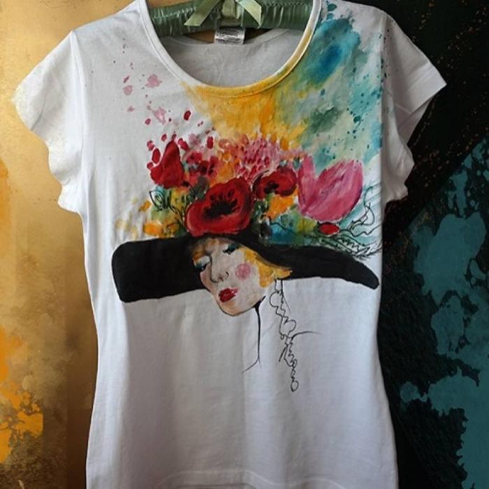 Tricou pictat - Palaria cu flori