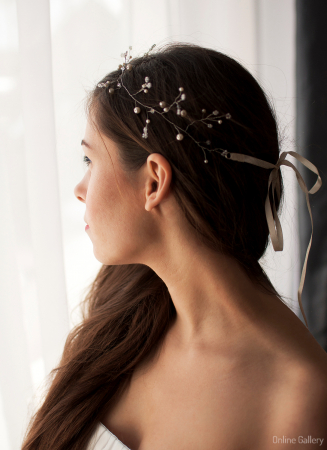 Coronită de mireasă - perle & cristale