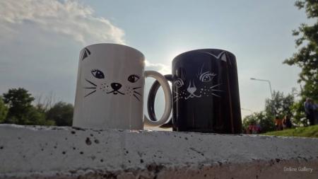 Set căni pictate – pisica albă – pisica neagră