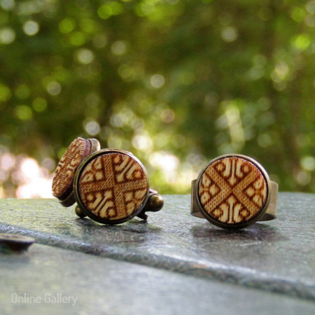 Set Handmade Butoni Si Inel Motive Tradiționale0