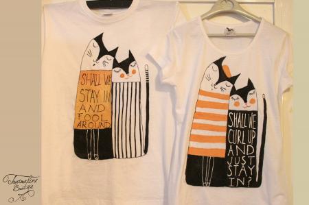 Set tricouri pictate cu pisici și mesaj3