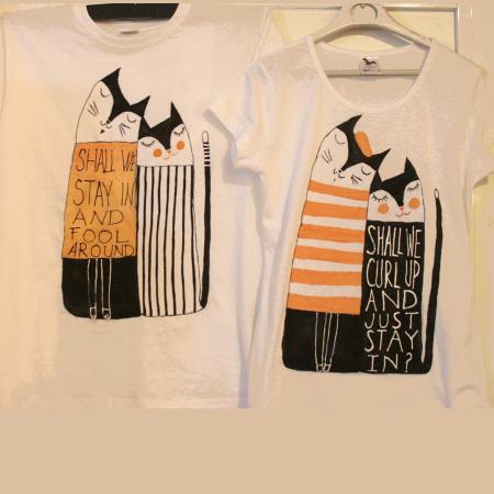 Set tricouri pictate cu pisici și mesaj0