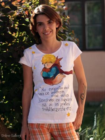 Tricou pictat - Micul Prinț și Vulpea2