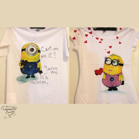 Set tricouri pictate cu Minioni îndrăgostiţi