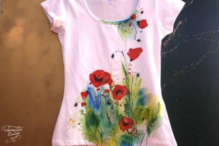 Tricouri pictate cu maci – tricouri handmade de vară2